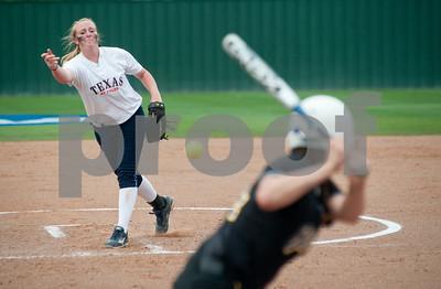 photo by Sarah A. Miller/Tyler Morning Telegraph  University of Texas at Tyler's Kelsie Batten pitches to Texas Lutheran University's Ashley Jacobsen Friday at UT Tyler's Suddenlink softball field.