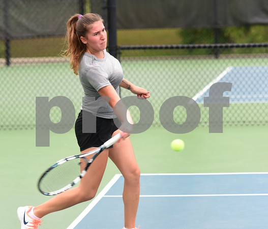Cowley College's Sara Petric plays Tyler Junior College's Montana Moore in a singles match during the second round of the NJCAA Women's National Tennis Tournament at TJC's JoAnn Medlock Murphy Tennis Center Monday May 9, 2016.  (Sarah A. Miller/Tyler Morning Telegraph)