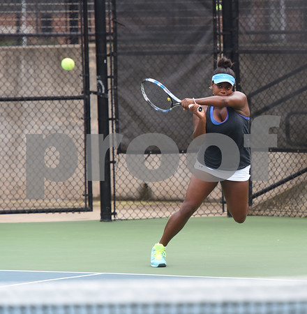 Tyler Junior College's Montana Moore plays a singles match against Cowley College's Sara Petric during the second round of the NJCAA Women's National Tennis Tournament at TJC's JoAnn Medlock Murphy Tennis Center Monday May 9, 2016.  (Sarah A. Miller/Tyler Morning Telegraph)