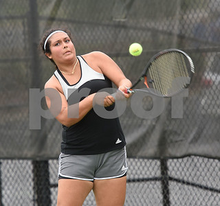 North Central Texas College's Favi Lopez plays a singles match during the second round of the NJCAA Women's National Tennis Tournament at TJC's JoAnn Medlock Murphy Tennis Center Monday May 9, 2016.  (Sarah A. Miller/Tyler Morning Telegraph)