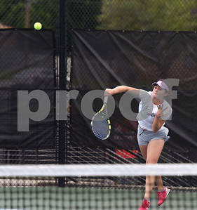 Pima Community College's Ema Hernandez plays a singles match against Meridian Community College's Jordyn Hull during the second round of the NJCAA Women's National Tennis Tournament at TJC's JoAnn Medlock Murphy Tennis Center Monday May 9, 2016.  (Sarah A. Miller/Tyler Morning Telegraph)