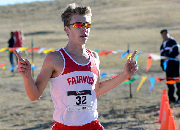 "Fairview High School senior Kyle Lund crosses the finish line in first-place during the varsity boys 5A Region 3 State Regional race at the North Area Athletic Complex in Arvada on Wednesday, Oct. 17. For more photos of the race go to  <a href=""http://www.dailycamera.com"">http://www.dailycamera.com</a>"