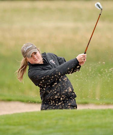 20110523_RMH_GLO_CARLSON_SAND.JPG Fairview's Amy Carlson chips out of a bunker on the 18th hole during the girls Class 5A State Golf Championship at Lone Tree Golf Club in Highlands Ranch on Tuesday, May 24, 2011. (Richard M. Hackett/Times-Call)