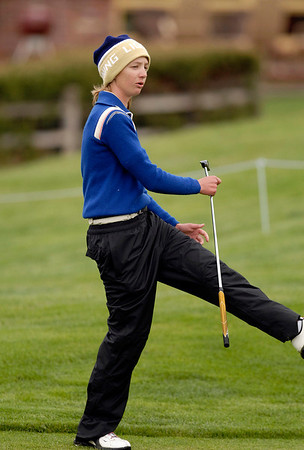 20110523_RMH_GLO_HANKINS_REACT.JPG Legacy's Sarah Hankins reacts to just missing a putt on the 3rd hole during the girls Class 5A State Golf Championship at Lone Tree Golf Club in Highlands Ranch on Tuesday, May 24, 2011. (Richard M. Hackett/Times-Call)