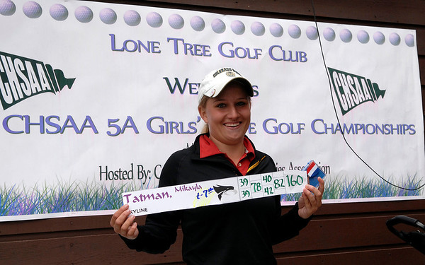 20110523_RMH_GLOS_TATMAN_SMILE.JPG Skyline's Mikayla Tatman holds up her seventh-place medal and score following the Class 5A State Golf Championship at Lone Tree Golf Club in Highlands Ranch on Tuesday, May 24, 2011. (Richard M. Hackett/Times-Call)