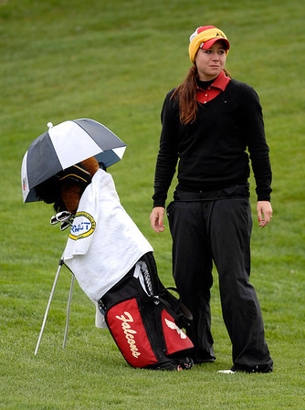 20110523_RMH_GLOS_LARSON_EMOTION.JPG Skyline's Gina Larson becomes emotional after finishing the 12th hole during the girls Class 5A State Golf Championship at Lone Tree Golf Club in Highlands Ranch on Tuesday, May 24, 2011. (Richard M. Hackett/Times-Call)