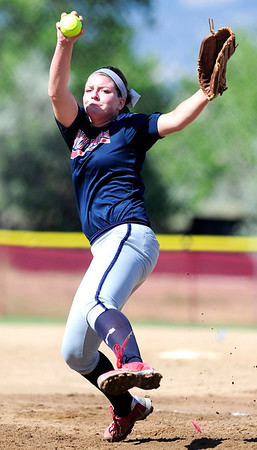 Team North Florida pitcher Carley Hoover winds up to pitch in Boulder, Colorado June 28, 2012.  DAILY CAMERA MARK LEFFINGWELL