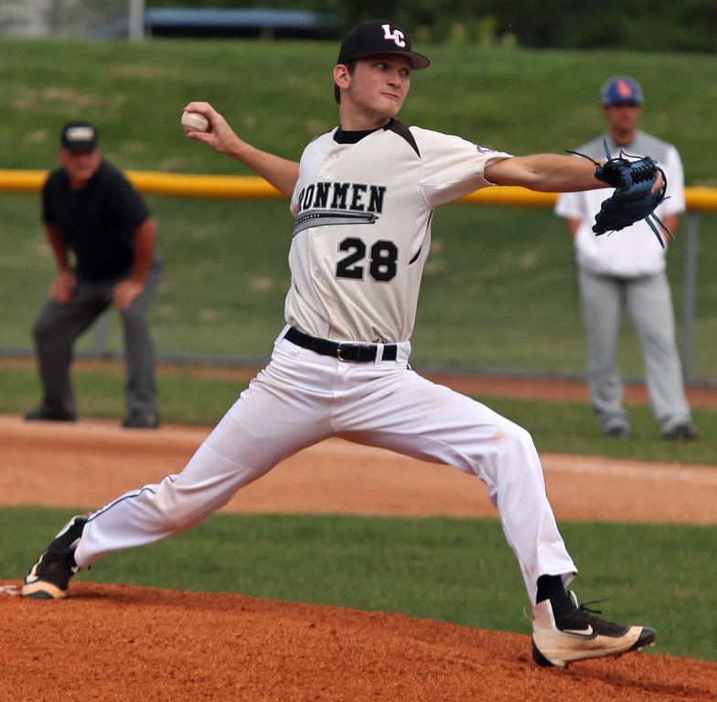 . Tyler Gault of the Ironmen delivers a pitch during the first inning against Lima. Randy Meyers -- The Morning Journal