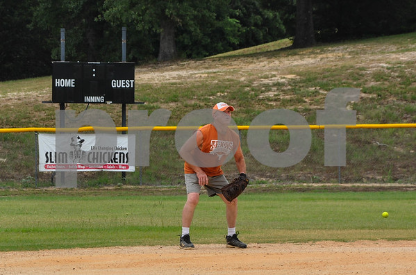 Jim Dunklin, 63, prepares to catch a fly ball during a Tyler Senior Softball League practice. The league consists of 5 teams and practices at Lindsey Park on Sunday afternoons. (Jessica T. Payne/Tyler Paper)