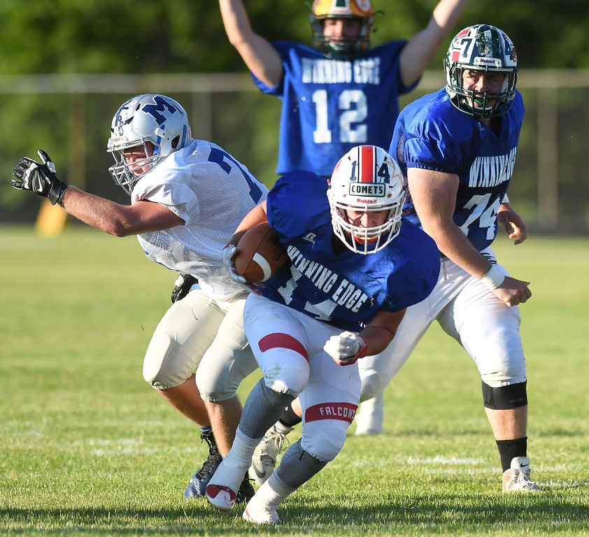 . Firelands\' Mike Whitacre (14) rushes in for a touchdown during the first quarter. Eric Bonzar � The Morning Journal