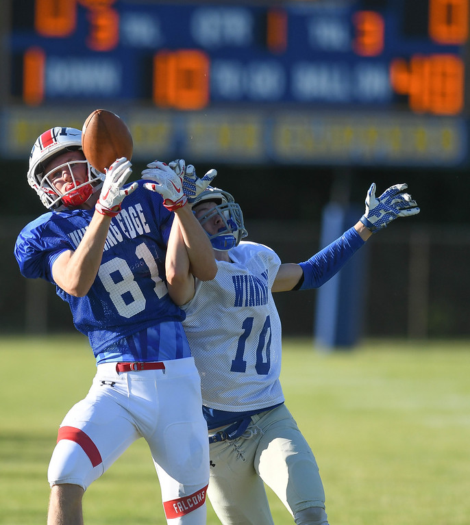 . A pass intended for Firelands\' Collin Myers (81) is broken up by Midview\'s Michael Santa (10) during the first quarter of the Winning Edge All-Star game. Eric Bonzar � The Morning Journal