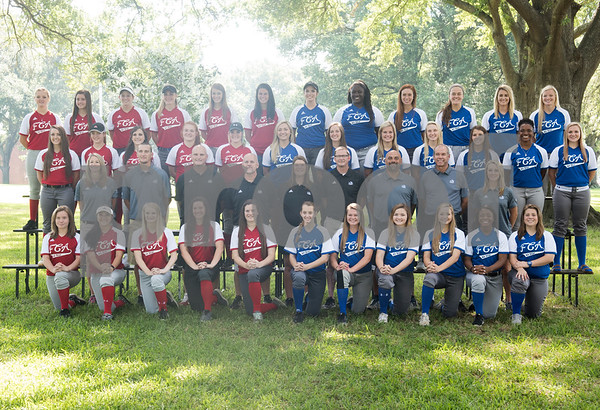 Members of the softball teams pose for a group photo at the Fellowship of Christian Athletes Heart of a Champion All-Star Media Day Thursday June 9, 2016 at Tyler Junior College. The baseball and softball games will be held Friday at 7 p.m. UT Tyler Ballpark.  (Sarah A. Miller/Tyler Morning Telegraph)