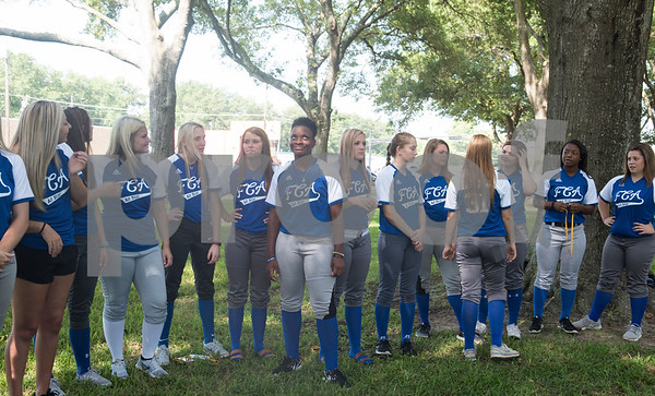 Members of the softball teams line up for a group photo at the Fellowship of Christian Athletes Heart of a Champion All-Star Media Day Thursday June 9, 2016 at Tyler Junior College. The baseball and softball games will be held Friday at 7 p.m. UT Tyler Ballpark.  (Sarah A. Miller/Tyler Morning Telegraph)