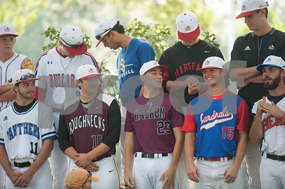 Members of the baseball teams pose for a group photo at the Fellowship of Christian Athletes Heart of a Champion All-Star Media Day Thursday June 9, 2016 at Tyler Junior College. The baseball and softball games will be held Friday at 7 p.m. UT Tyler Ballpark.  (Sarah A. Miller/Tyler Morning Telegraph)