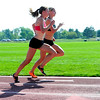 "Olympic hopefuls Shalaya Kipp (left) and Emma Coburn (right) workout at Pott's Field in Boulder, Colorado July 10, 2012.  DAILY CAMERA MARK LEFFINGWELL<br /> <br /> See video of their workout at  <a href=""http://www.dailycamera.com"">http://www.dailycamera.com</a>"