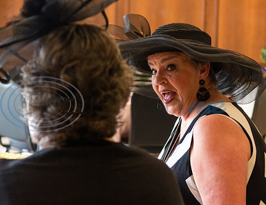 """Attendee Sherry Macauley (right) converses with Brenda Hammond during a """"Ribbons, Roses and Lace"""" themed Victorian tea, kicking off the Ms. Texas Senior Classic Pageant season, Friday morning in the Rose Room at the Tyler Rose Garden Center in Tyler.  (Cara Campbell/Tyler Morning Telegraph)"""