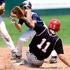 Fairview's Will Stoorman (front) beats the throw to Manhattan's Caleb Gorman (back) safely stealing 2nd during their game in Boulder, Colorado July 13, 2012.  DAILY CAMERA MARK LEFFINGWELL