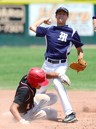 Fairview's Cam Fraizer (left) is tagged out at 2nd by Manhattan's Caleb Gorman (right) during their game in Boulder, Colorado July 13, 2012.  DAILY CAMERA MARK LEFFINGWELL