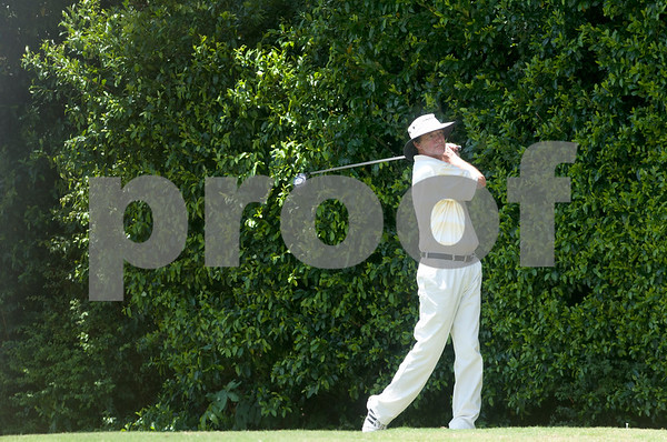 Galloway Calhoun makes his stroke on the fifth tee during the Men's Club Golf Championship at Willow Brook Country Club in Tyler Friday July 17, 2015. The annual event got underway Friday with a championship flight of 54 holes. The other flights are 36-holes and will begin on Saturday. The event concludes Sunday.   (photo by Sarah A. Miller/Tyler Morning Telegraph)