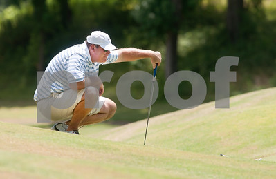 Joel Hackney lines up his shot on the sixth green during the Men's Club Golf Championship at Willow Brook Country Club in Tyler Friday July 17, 2015. The annual event got underway Friday with a championship flight of 54 holes. The other flights are 36-holes and will begin on Saturday. The event concludes Sunday.   (photo by Sarah A. Miller/Tyler Morning Telegraph)