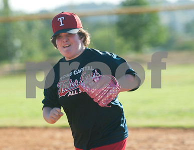Rose Capital Tyler East Challenger Division player Natalie Tant runs between bases during their game against Santa Fe in the 46th annual Texas East State Little League Tournament Saturday July 18, 2015 at Faulkner Park in Tyler, Texas. This is the13th year Tyler has hosted the event. Challenger Division teams have both male and female players from ages 4 through high school students who have mental or physical special needs.  (photo by Sarah A. Miller/Tyler Morning Telegraph)