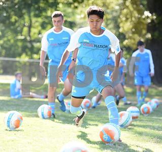 Edgar Sanchez, 17, of Tyler, does a drill at One Soccer, a week-long camp held at Robert E. Lee High School Wednesday July 20, 2016.  (Sarah A. Miller/Tyler Morning Telegraph)