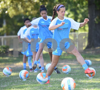 Kaitlyn Nash, 16, of Tyler, does a drill at One Soccer, a week-long camp held at Robert E. Lee High School Wednesday July 20, 2016.  (Sarah A. Miller/Tyler Morning Telegraph)