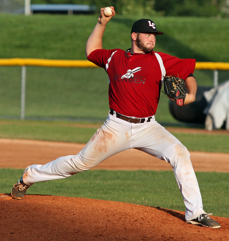 . Brendon Lekan of the Ironmen delivers a pitch against Cincinnati during the fourth inning. Randy Meyers -- The Morning Journal