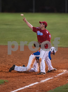 photo by Sarah A. Miller  Rose Capitol East's (16) Jordan Hortman is safe at second base before Victoria East's (21) Chris Tristan makes the catch during the in the senior division of the Texas East Little League State Tournament  Saturday night at Faulkner Park in Tyler. This is the 11th straight year the tourney has been held in Tyler.