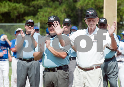 photo by Sarah A. Miller/Tyler Morning Telegraph  Charlie Fox of Houston is recognized for his 41 years of service working in little league in district 16 during the opening ceremonies of the 44th Annual Texas East League State Tournament Saturday at Faulkner Park in Tyler. This is the 11th year the tournament has been held in Tyler.