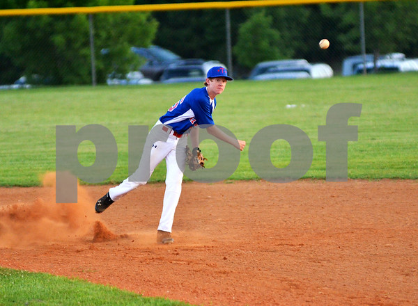 Tyler East Seniors shortstop Jordan Hortman attempts to turn a double play on Sunday afternoon during a Little League State Tournament matchup against West University. (Victor Texcucano)