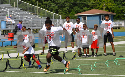 Area athletes attend the Aaron Ross Football Camp on Saturday, July 21. The camp took place at John Tyler High School. (Jessica T. Payne/Tyler Paper)