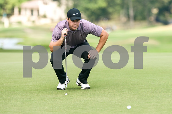 Jimmy Keener looks where to putt during round one of the 48th Tanos Exploration II / Patterson-UTI Drilling Texas State Open at The Cascades Club in Tyler, Texas, on Tuesday, July 31, 2018. The 72-hole stroke play event will consist of 156 professionals and amateurs competing for a $200,000 projected purse. (Chelsea Purgahn/Tyler Morning Telegraph)