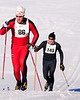 Teo Jackson (#86)of Gorham, NH, climbs a steep hill, just ahead of Kirk Siegel, of Bethel, Maine, during The 7th Annual White Mountain Classic 30K ski race, which was hosted by the Jackson Ski Touring Foundation, on January 22nd, 2011, in Jackson, NH. Over 200 competitors used the classic cross-country ski technique in a 30 kilometer (18.64 miles) marathon on the trail systems in and around Jackson Village.