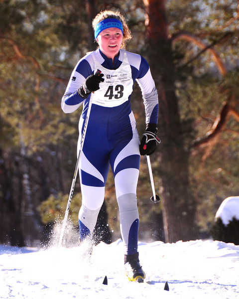 Aslyn Dindorf, a Fryeburg Academy senior, competes in The 7th Annual White Mountain Classic 30K ski race, which was hosted by the Jackson Ski Touring Foundation, on January 22nd, 2011, in Jackson, NH. Over 200 competitors used the classic cross-country ski technique in a 30 kilometer (18.64 miles) marathon on the trail systems in and around Jackson Village.