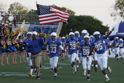 Pflugerville Panthers take the field at Friday nights game against Bowie.