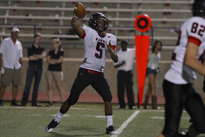 Bowie's Dontae Harris throws the ball against Pflugerville during Friday nights game.