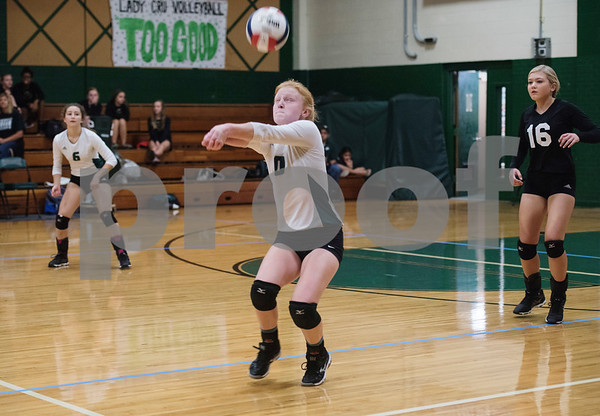 Bishop Thomas K. Gorman's (10) Lauren Fanning bumps the ball during the TAPPS Spike Down Classic held at Bishop Thomas K. Gorman Friday Aug. 11, 2017.  (Sarah A. Miller/Tyler Morning Telegraph)