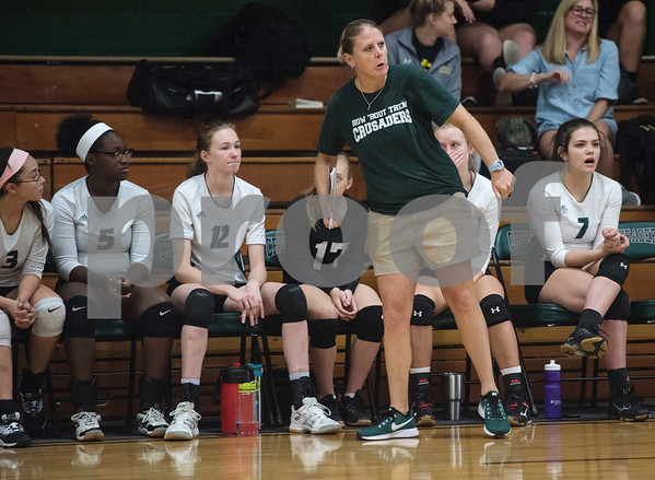 Bishop Thomas K. Gorman's head volleyball coach Tracey Giorgio watches her team during the TAPPS Spike Down Classic held at Bishop Thomas K. Gorman Friday Aug. 11, 2017.  (Sarah A. Miller/Tyler Morning Telegraph)