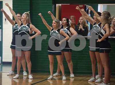 Bishop Thomas K. Gorman's cheerleaders cheer on the varsity volleyball team during the TAPPS Spike Down Classic held at Bishop Thomas K. Gorman Friday Aug. 11, 2017.  (Sarah A. Miller/Tyler Morning Telegraph)