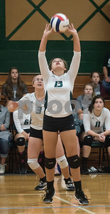 Bishop Thomas K. Gorman's (13) Kassidy Fender sets the ball during the TAPPS Spike Down Classic held at Bishop Thomas K. Gorman Friday Aug. 11, 2017.  (Sarah A. Miller/Tyler Morning Telegraph)