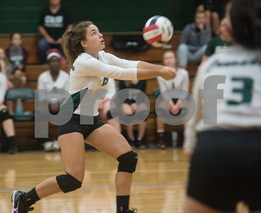 Bishop Thomas K. Gorman's (13) Kassidy Fender bumps the ball during the TAPPS Spike Down Classic held at Bishop Thomas K. Gorman Friday Aug. 11, 2017.  (Sarah A. Miller/Tyler Morning Telegraph)