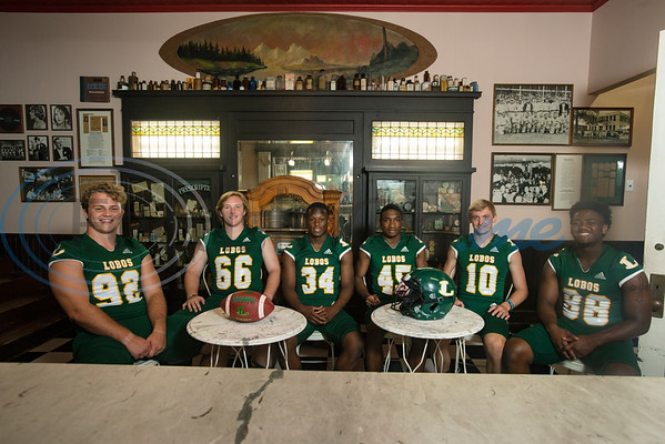 Longview High School (92) Sawyer Goram-Welch, (66) Parker Cox, (34) Tyshawn Taylor, (45) Dakirin Buchanan, (10) Haynes King, (88) Jhailon Braden  (Sarah A. Miller/Tyler Morning Telegraph)