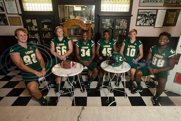 Longview High School (92) Sawyer Goram-Welch, (66) Parker Cox, (34) Tyshawn Taylor, (45) Dakirin Buchanan, (10) Haynes King, (88) Jhailon Braden  (Sarah A. Miller/Tyler Morning Telegraph)