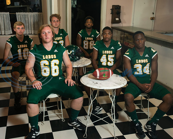 Longview High School (10) Haynes King, (66) Parker Cox, (92) Sawyer Goram-Welch,(88) Jhailon Braden, (45) Dakirin Buchanan, (34) Tyshawn Taylor  (Sarah A. Miller/Tyler Morning Telegraph)