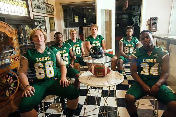 Longview High School (66) Parker Cox, (45) Dakirin Buchanan (10) Haynes King, ( (92) Sawyer Goram-Welch, (88) Jhailon Braden, (34) Tyshawn Taylor  (Sarah A. Miller/Tyler Morning Telegraph)