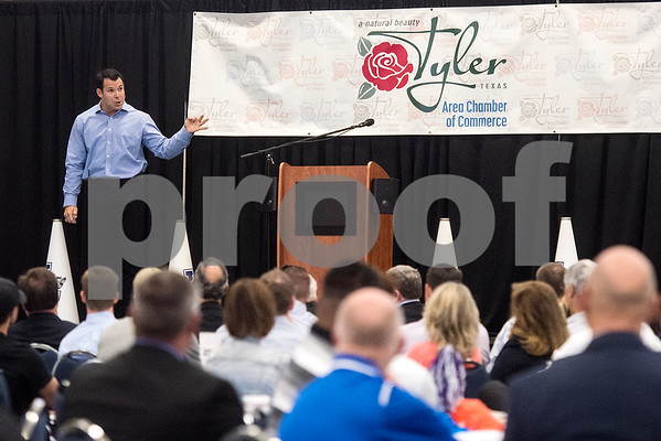 U.S. Olympic Bobsledder Johnny Quinn speaks at the 12th annual East Texas Kick-off Luncheon at Harvey Convention Center in Tyler, Texas, on Tuesday, Aug. 15, 2017. Hundreds gathered to enjoy a meal together to listen to speakers and kick off the 2017 football season. (Chelsea Purgahn/Tyler Morning Telegraph)