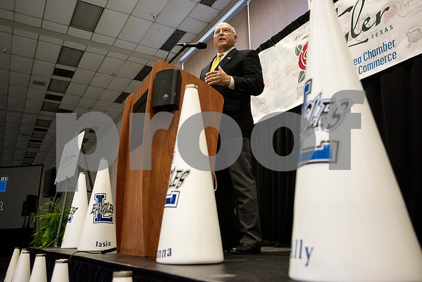 Cooper Castleberry speaks at the 12th annual East Texas Kick-off Luncheon at Harvey Convention Center in Tyler, Texas, on Tuesday, Aug. 15, 2017. Hundreds gathered to enjoy a meal together to listen to speakers and kick off the 2017 football season. (Chelsea Purgahn/Tyler Morning Telegraph)