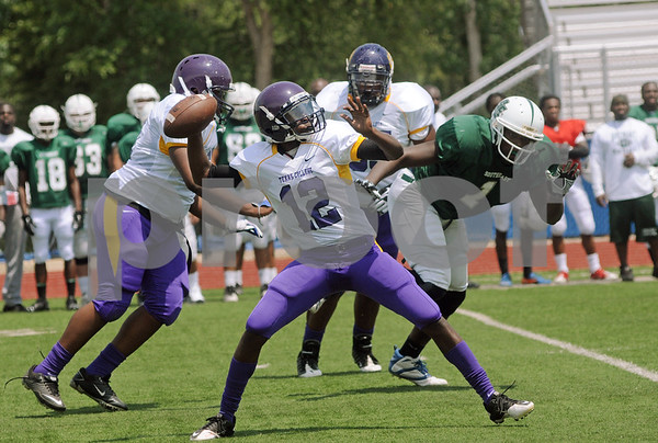 copyright 2012 Sarah A. Miller/Tyler Morning Telegraph  Texas College's (12) ???  Saturday afternoon during a scrimmage against Houston Southeast Prep at Mewbourne Field in Tyler. TC opens the season on Saturday, Aug. 25 against fourth-ranked (NAIA) St. Francis (Ind.) at Trinity Mother Frances Rose Stadium. The game kicks off at 2 p.m.