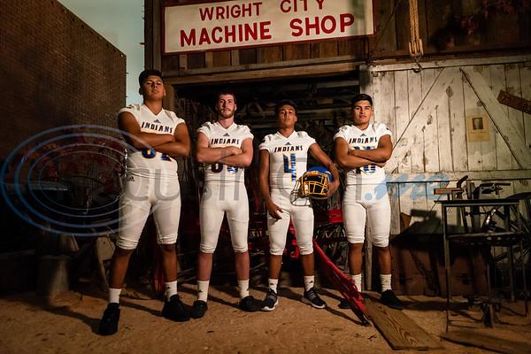 Carlisle High School Alex Garza (52), Jason Winfrey (53), Carlos DeLeon (4) and Louie Garza (13).  (Cara Campbell/Tyler Morning Telegraph)